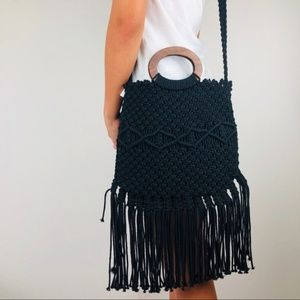 NWT Danielle Nicole Black macramé Fringe Lined Bag